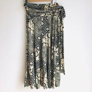 Lapis Beige/Black Print Maxi Skirt Size Large